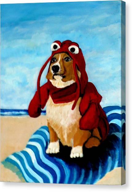 Lobster Corgi On The Beach Canvas Print