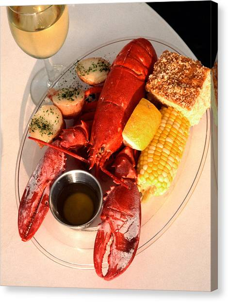 Cornbread Canvas Print - Lobster Dinner At Bar Harbor, Maine by Theodore Clutter