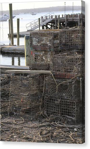 Lobster Pots Northport New York Canvas Print