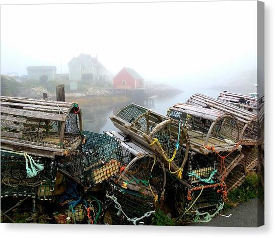 Lobster Traps And Fog Canvas Print