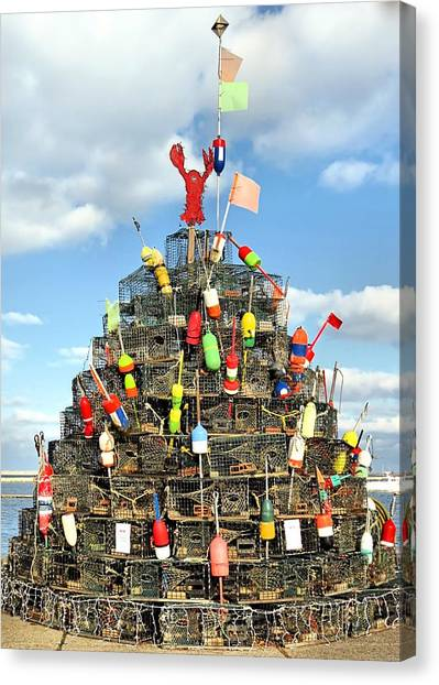 Lobster Traps Christmas Tree Canvas Print