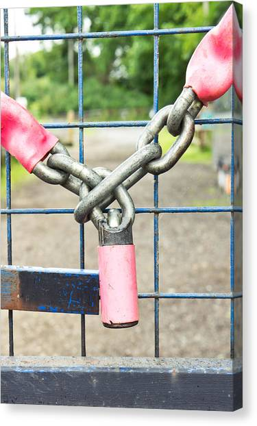 Chain Link Fence Canvas Print - Lock And Chain by Tom Gowanlock