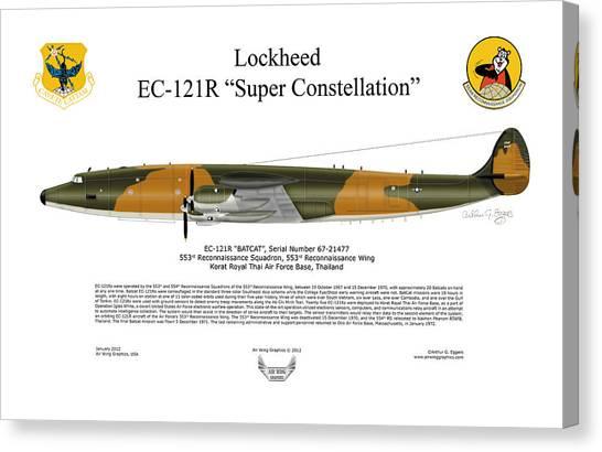 67 Canvas Print - Lockheed Ec-121r 553rs Korat Rtafb by Arthur Eggers
