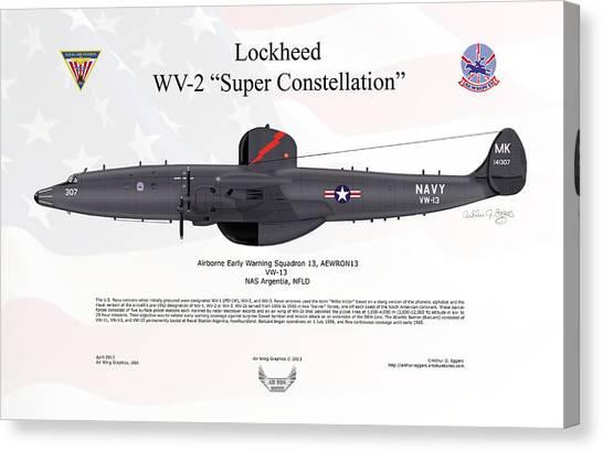 Lockheed Wv-2 Super Constellation Aewron13 Canvas Print by Arthur Eggers