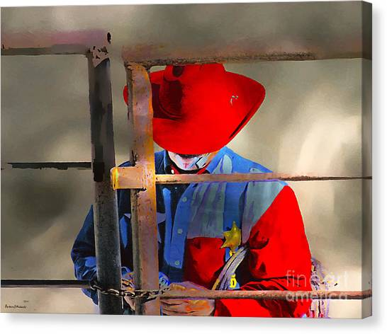 Rodeo Clown Canvas Print - Locking Up After The Rodeo by Barbara D Richards