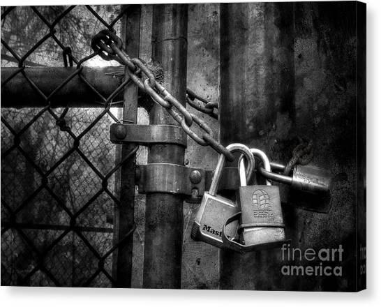 Chain Link Fence Canvas Print - Locks Locking Locks by Michael Eingle
