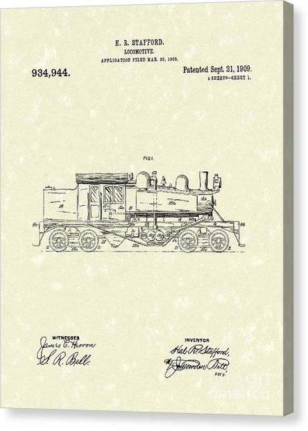 Train Canvas Print - Locomotive 1909 Patent Art by Prior Art Design