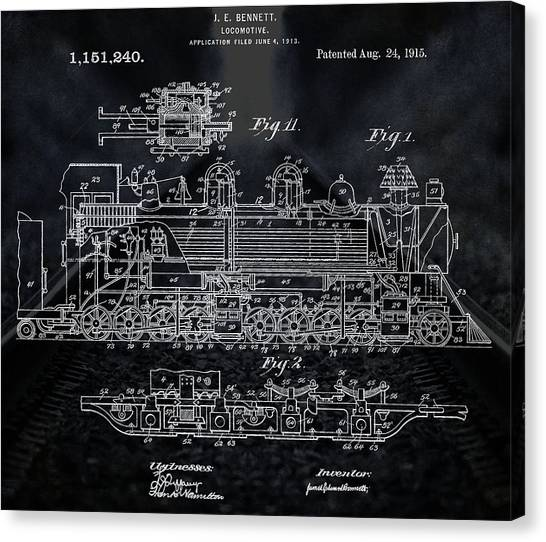 Train Conductor Canvas Print - Locomotive Patent by Dan Sproul