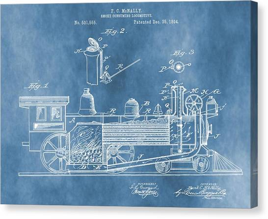 Train Conductor Canvas Print - Locomotive Patent On Blue by Dan Sproul