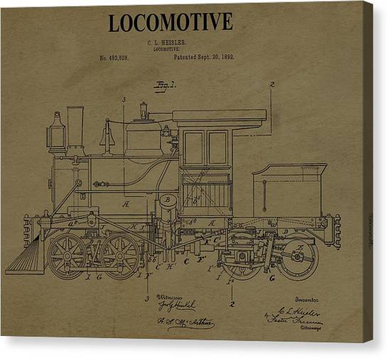 Train Conductor Canvas Print - Locomotive Patent Postcard by Dan Sproul