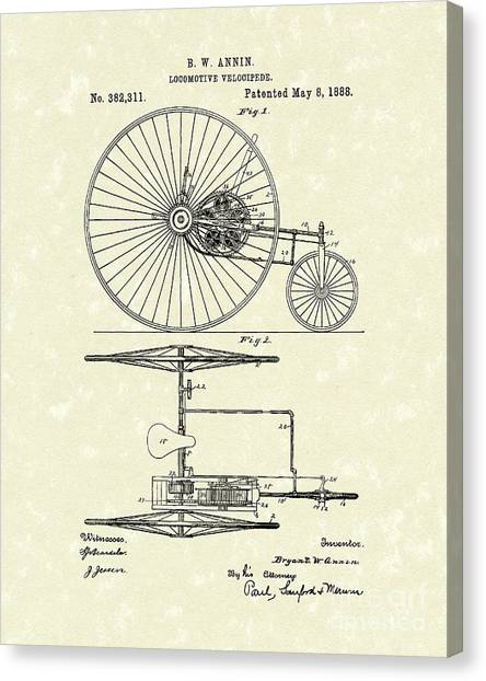 Train Canvas Print - Locomotive Velocipede 1888 Patent Art by Prior Art Design