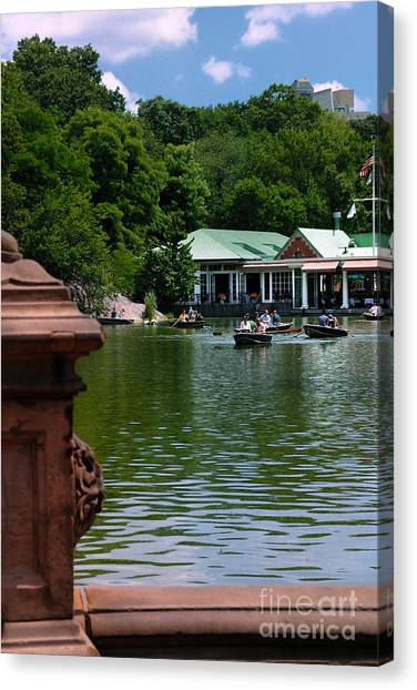 Rowboat Canvas Print - Loeb Boathouse Central Park by Amy Cicconi