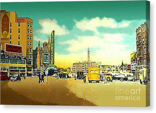 Loew's Jersey Theatre On Journal Square Jersey City In 1946 Canvas Print