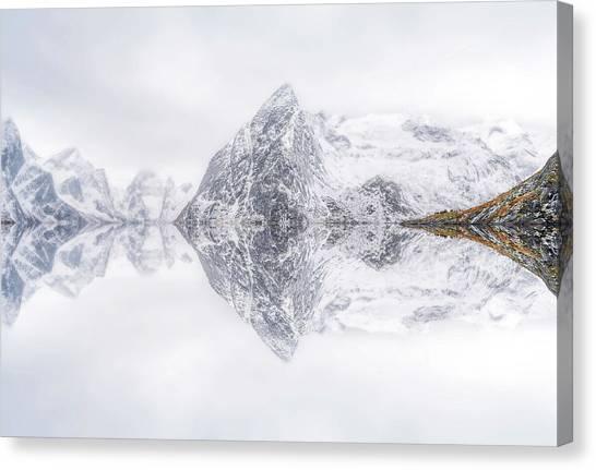 Mountain Cliffs Canvas Print - Lofoten Reflection by Ignacio Palacios