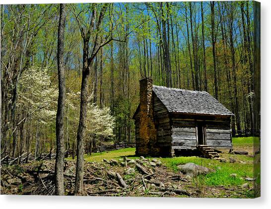 Log Cabin In The Smoky Mountain National Park Canvas Print
