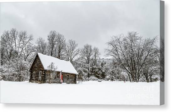 Shovels Canvas Print - Log Cabin In The Snow by Edward Fielding