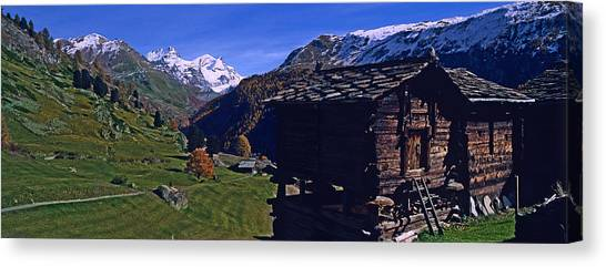 Log Cabin Canvas Print - Log Cabins On A Landscape, Matterhorn by Panoramic Images