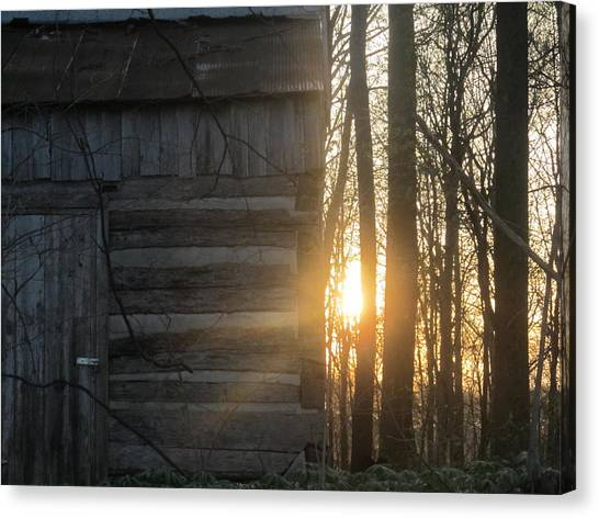 Log House Up Close And Sunset Canvas Print