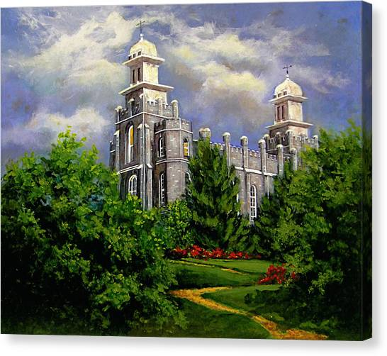 Logan Utah Temple Pathway To Heaven Canvas Print