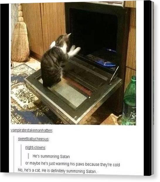 Satan Canvas Print - #lol #funny #funnypics #cats #satan by Jared Colbert