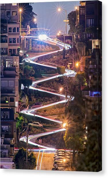 San Canvas Print - Lombard Street With Cable Car - San Francisco by David Yu