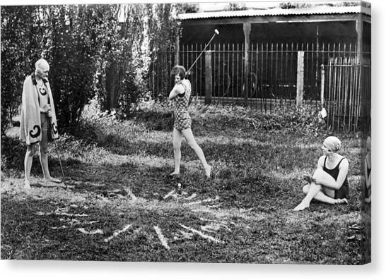 Three Girls Canvas Print - London Bathers Play Clock Golf by Underwood Archives