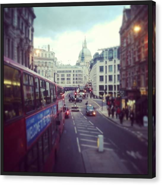 Parliament Canvas Print - London Bus by David  Simmons