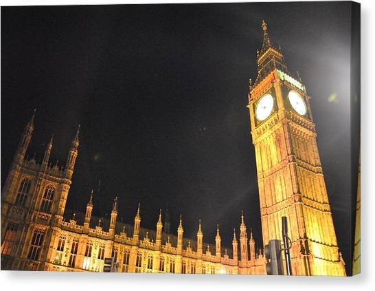 Parliament Canvas Print - London By Night by Charlyne Dhenin
