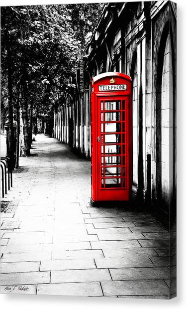 Canvas Print featuring the photograph London Calling - Red Telephone Box by Mark E Tisdale