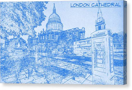 Asar Studios Canvas Print - London Cathedral  - Blueprint Drawing by MotionAge Designs
