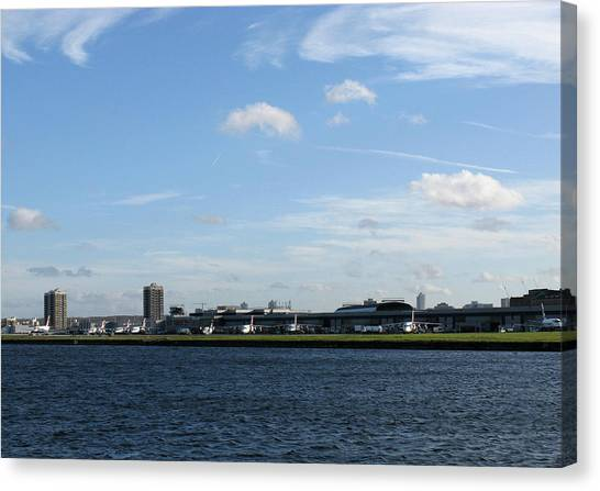 Canvas Print featuring the photograph London City Airport by Helene U Taylor