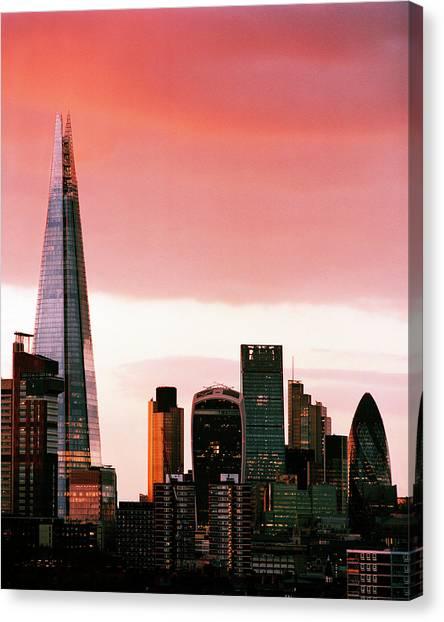 London City Skyline At Sunset - Canvas Print by Shomos Uddin