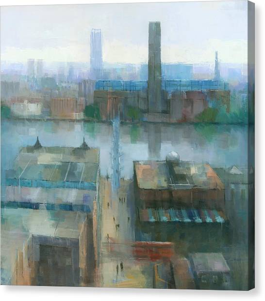 Canvas Print featuring the painting London Cityscape by Steve Mitchell