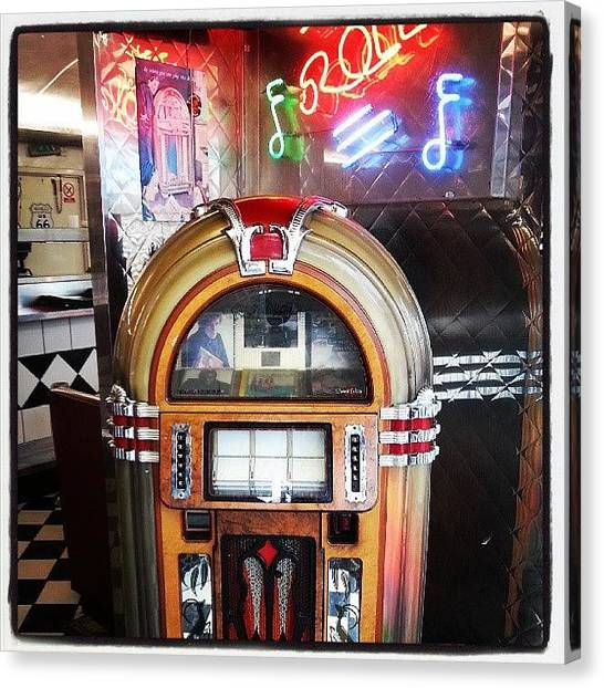 Jukebox Canvas Print - #london #dining #instalike #instamania by Peter Galazka