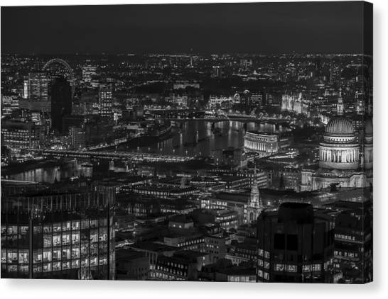 London City At Night Black And White Canvas Print