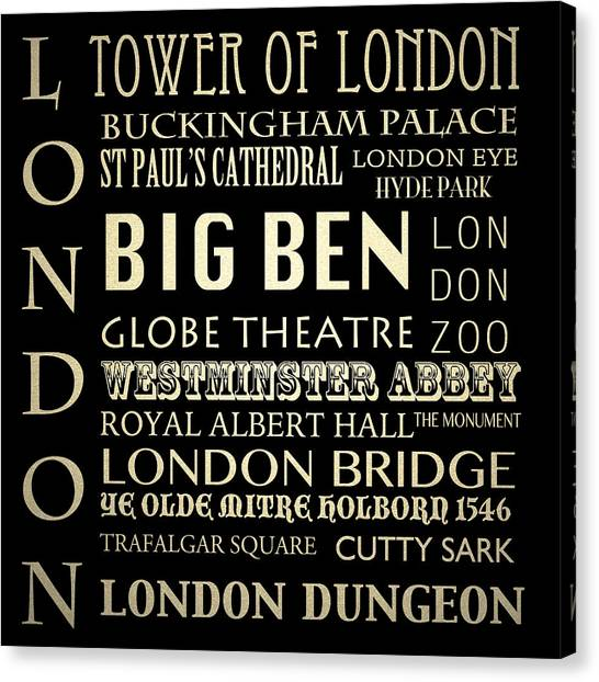 Famous Places Canvas Print - London England Famous Landmarks by Patricia Lintner