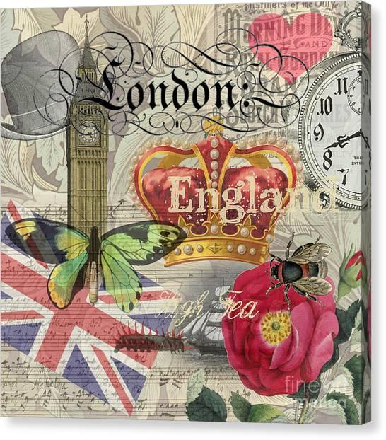London England Vintage Travel Collage  Canvas Print