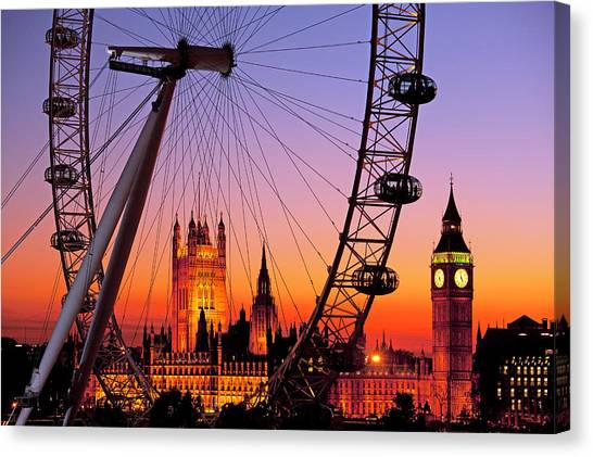 London Eye And Big Ben At Dusk Canvas Print by Scott E Barbour