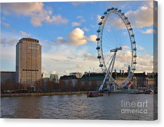 London Eye And Shell Building Canvas Print