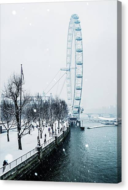 Snow Bank Canvas Print - London Eye And Southbank In Snow by Doug Armand