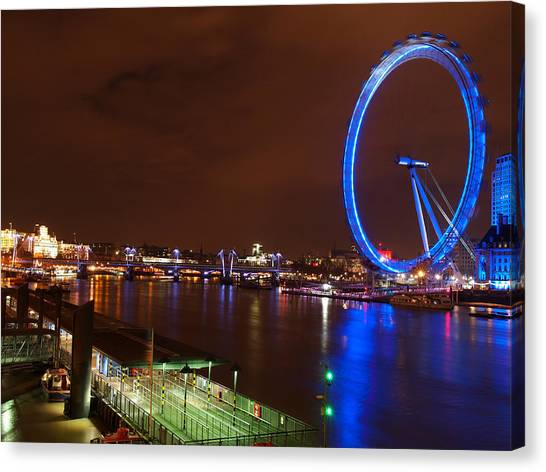 London Eye By Night Canvas Print by Neven Milinkovic
