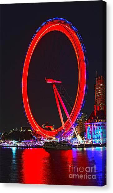 London Eye Canvas Print - London Eye Red by Jasna Buncic