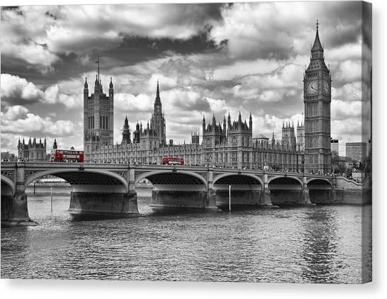 Historic House Canvas Print - London - Houses Of Parliament And Red Buses by Melanie Viola