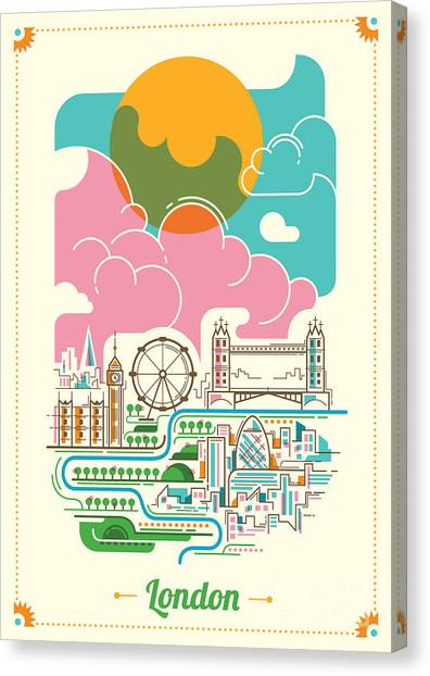Monument Canvas Print - London Illustration In Color. Vector by Radoman Durkovic