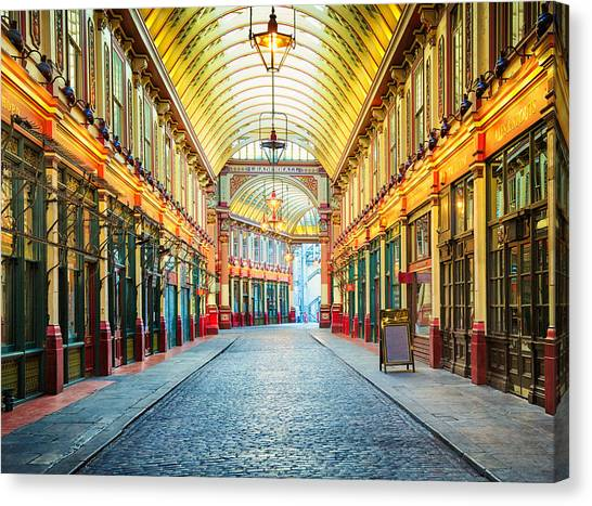 London Leadenhall Hall Market Street Arcade Canvas Print by NicolasMcComber