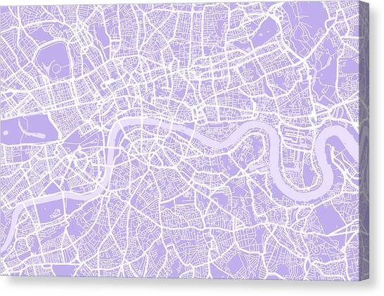 England Canvas Print - London Map Lilac by Michael Tompsett