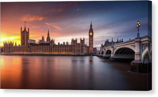 Palace Of Westminster Canvas Print - London Palace Of Westminster Sunset by Merakiphotographer
