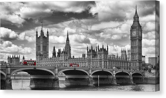 Palace Of Westminster Canvas Print - London River Thames And Red Buses On Westminster Bridge by Melanie Viola