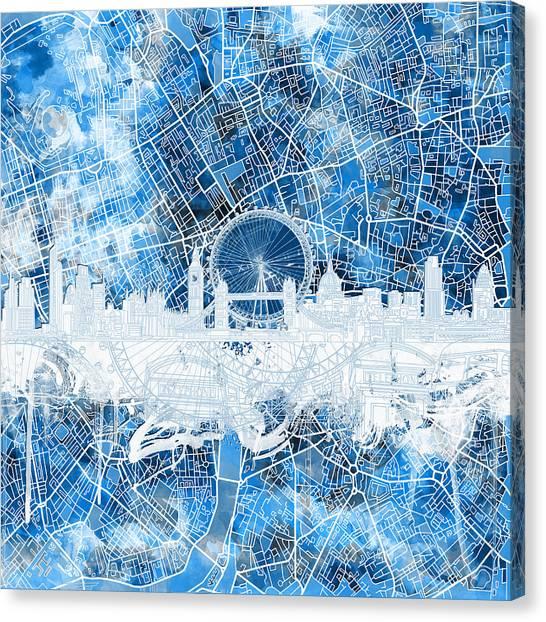 London Eye Canvas Print - London Skyline Abstract 13 by Bekim Art