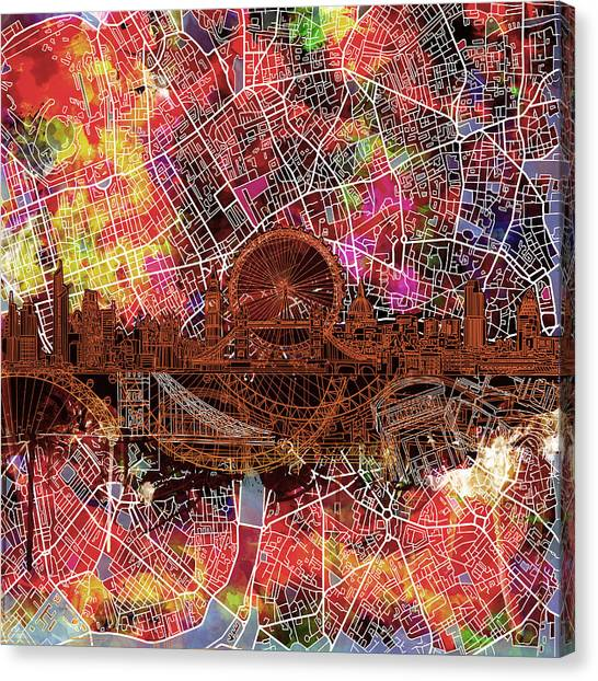 London Eye Canvas Print - London Skyline Abstract 5 by Bekim Art